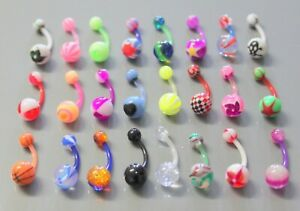 20 x  ASSORTED FLEXIBLE 100% ACRYLIC  NAVEL BELLY BARS  EVERY BAR DIFFERENT
