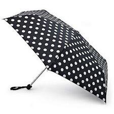 Fulton Ladies Compact Flat Umbrella White Spot Design