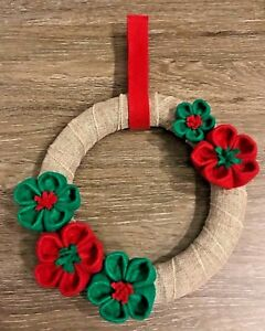 "Handmade 10"" Origami Felted Flower Christmas Holiday Wreath"