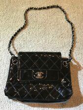 Chanel Quilted Double Flap Black Patent Leather Shoulder Bag