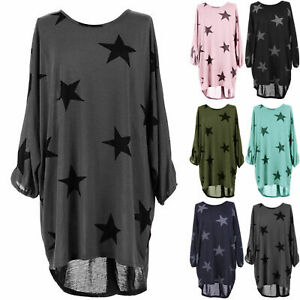 Womens Oversized Baggy Dress Star Print Batwing Sleeve High Low Top UK Plus Size
