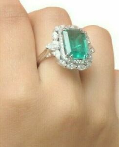 Created Green Emerald Engagement Women Fine Ring CZ 925 Sterling Silver