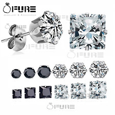 Pair of Men Women Kids Surgical Steel Silver CZ Non-allergenic Stud Earrings