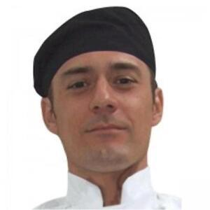 GLOBAL Black Flat Top Chef Hat Unisex