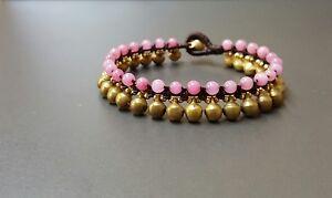 Jingling Bell Rose Quartz Brass Bracelet,Brass Bracelets,Beads Bracelet,