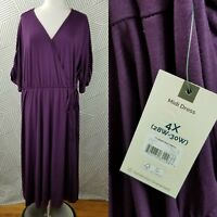 New Terra & Sky Plus Size 4X 26/28/30 Faux Wrap Midi Dress Stretch NWT Purple