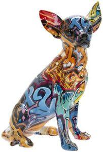 Graffiti Art Chihuahua Sitting Ornament Dog Puppy Figurine Art Sculpture Gift