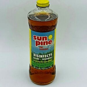 Vintage 80s Sun Pine Cleaner Glass Bottle 95% Left of 28 oz Corp Jackson MS HS1