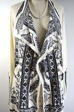 JOHNNY WAS Biya Black/ivory Embroidered Sweater Cardigan Coat JACKET Hobo Chic S