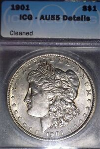1901 Morgan Silver Dollar, ICG  AU55, Tough Date, Nice, Nice.
