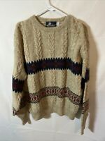 VTG Lobo by Pendleton Men Large 48 Pullover Wool Sweater Cable Knit Southwestern