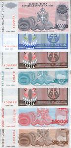 Republic of Serbian Krajina  lot 7 banknotes 1993. UNC.