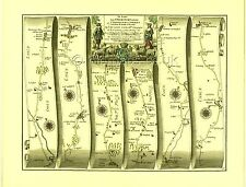 Chelmsford to Bury St Edmunds inc.Braintree,   Replica 17c OGILBY Old Road Map