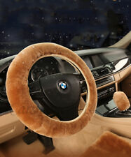 Universal Brown Car Steering Wheel Cover Woolen 4 Season Wool Plush Warmth Cover