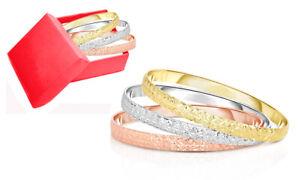 Women's 18K Gold Plated 3 Color Diamond Cut Bangle Bracelet set - 3 Pack Set