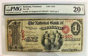 1865 Original $1 National Banknote RUTLAND Vermont * PMG Very Fine 20 Net