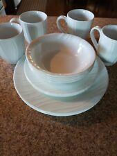 Corelle Boutique Swept 16-Piece Embossed Dinnerware Set Service  4 swirl plate