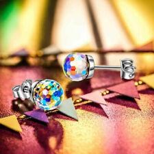 Aurora Borealis Stud Earrings Made with Swarovski Crystals 925 Silver