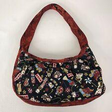 Maneki Neko Cat Good Luck Symbols Floral Print Hobo Handbag Purse