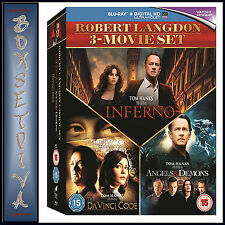 Robert Langdon 3 Movie Set Inferno Angels Demons Da Vinci Code Blu-ray Region B