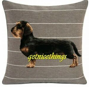 Iosis Yves Delorme Dachshund Dog French Woven Tapestry Decorative Pillow Cover