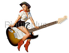 Sexy Cowgirl Pinup riding a Guitar Pin-up Girl Waterslide Decal Sticker S60