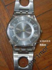 中古懷舊二手*SWATCH AG 1999 SWISS*雷射內錶面 銀鋼通花帶針 透明底面超薄錶身 型格 歷久珍藏  ( $120 )