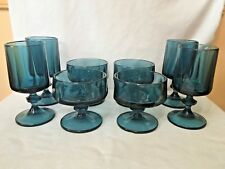 vintage blue depression sherbert glasses & wine glasses wine goblets set of 8