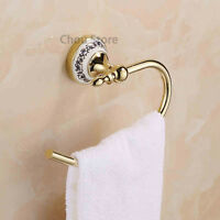 Luxury Gold Polished Brass Towel Rack Hook Wall Mount Bathroom Clothes Hanger
