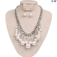 """18"""" Adjustable White Pearl and Silver Tone Necklace with Dangle Earrings"""