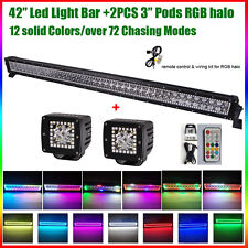 """42"""" Led Work Light Bar + 2x 3"""" Pods with RGB Halo Chasing Flash For JEEP Ford"""