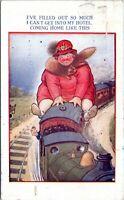 1929 Bamforth Touring Comic 853 Fat Woman Riding Train Postcard DI