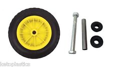 "PU 16"" PUNCTURE PROOF YELLOW WHEELBARROW WHEEL TYRE 4.80 - 8 FOAM FILLED + AXLE"