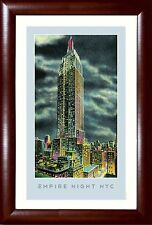 "New York Skyline EMPIRE STATE BUILD. ""Empire Night NYC"" Framed Poster 13.5x19.5"""