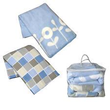 Set of 2 (Twin Pack) - Polar Fleece Queen Blanket Blue Printed 210 x 240 cm