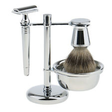 Stainless Metal Shaving Set Badger Hair Brush+Safety Razor+Bowl+Stand Holder