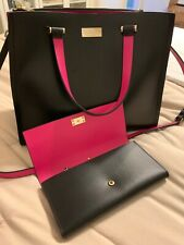 KATE SPADE Black & Pink Krya Arbour Hill Satchel Bag And Matching Wallet
