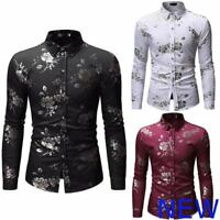 Floral Stylish Luxury Long Sleeve Top Casual Slim Fit Dress Shirts Mens Shirt