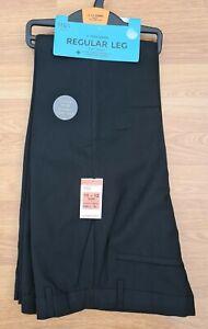 M&S 2 x FLAT FRONT boys BLACK school uniform REGULAR LEG trousers 11-12 yrs BNWT