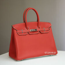 NEW AUTHENTIC HERMES BIRKIN BAG - Sanguine and White with Silver 35cm