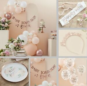 Floral Baby Shower Decorations Mum to Be Rose Gold Botanical Tableware Unisex