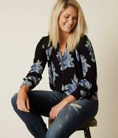 Lucky Brand $60 Sz S L/S Drop Needle Black Floral Blossom Print Henley