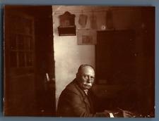 France, Mr. Davis au bureau d'Octroi de Clérac  Vintage citrate print.  T