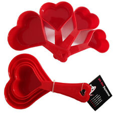 4 x Heart Measuring Cups Plastic 60ml-250ml Measure Spoon Baking Cooking Tool PK