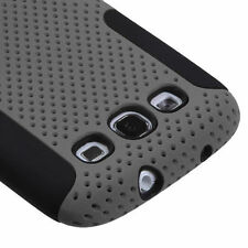 Samsung Galaxy S III 3 MESH Hybrid Silicone Rubber Skin Case Phone Cover Grey