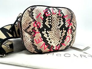 AUTH NWT Stella McCartney Perforated Logo Snake Prints Faux Leather Belt Bag