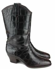 Rare Gucci Dk Brown Full Crocodile Skin Cowboy Boots 42.5 EU / 9.5 D US $16000