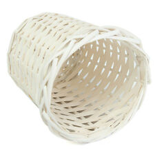 White Round Willow Wicker Basket Plant Decor Waste Paper Organizer Home Room Bin