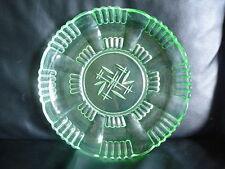 Kuchenteller Art Deco Pressglas Uranglas? Kuchenplatte Glasteller Schale  30 cm