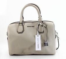 Michael Kors NEW Gray Cement Leather Medium Duffle Satchel Purse Bag $298- #006